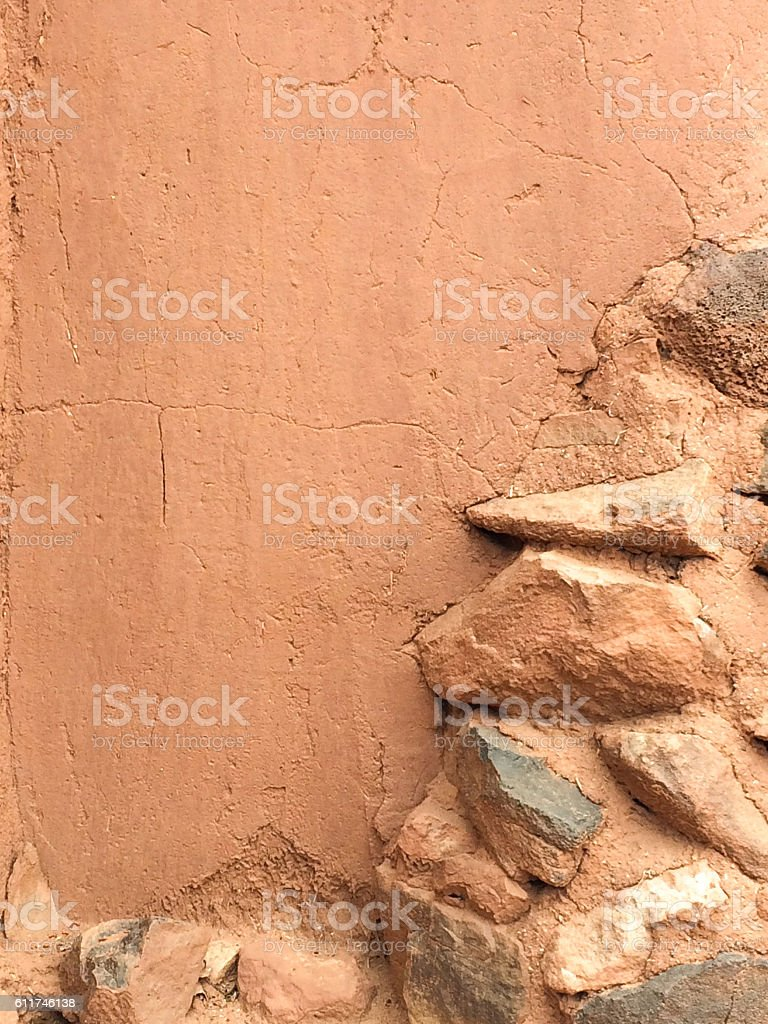 Brown Stone and Adobe Wall Background Texture stock photo