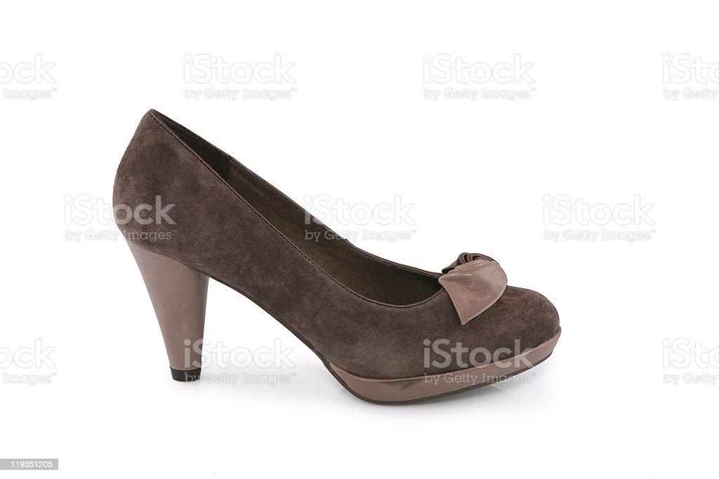 Brown suede shoe stock photo