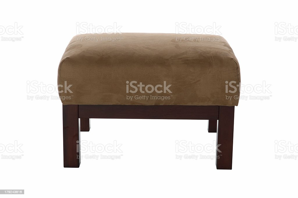 Brown Suede Stool (Front View) stock photo