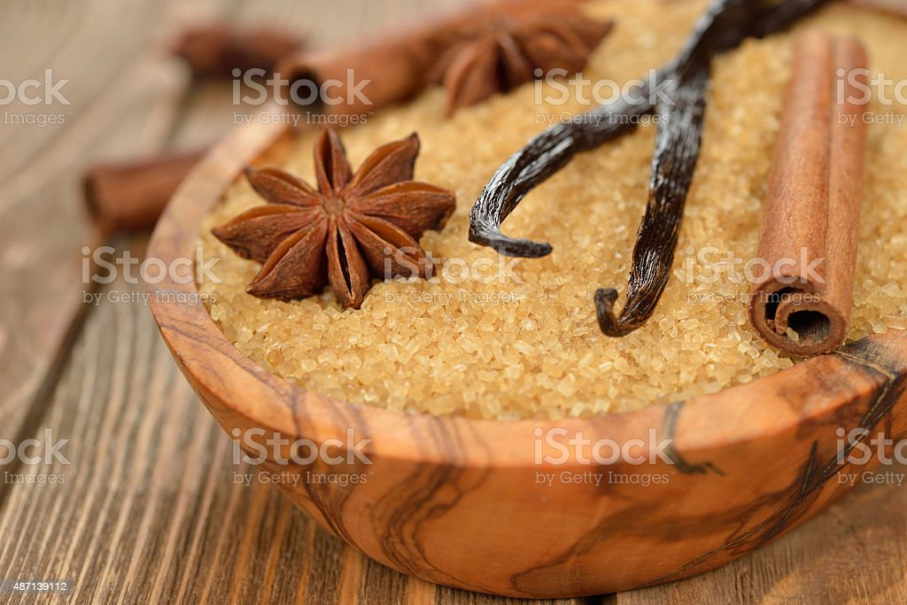 Brown sugar, anise, vanilla and cinnamon stock photo