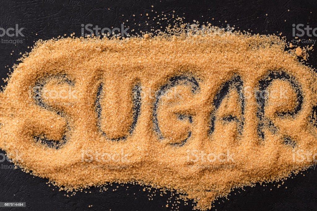 Brown sugar word on black stock photo
