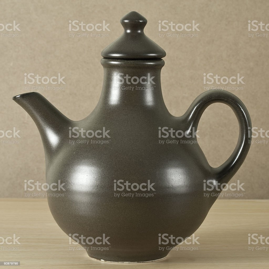 Brown Tea Pot on a neutral background stock photo