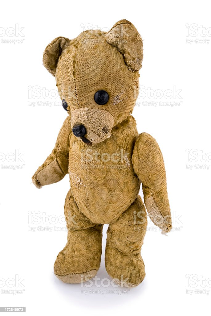Brown teddy bear standing up in white background stock photo