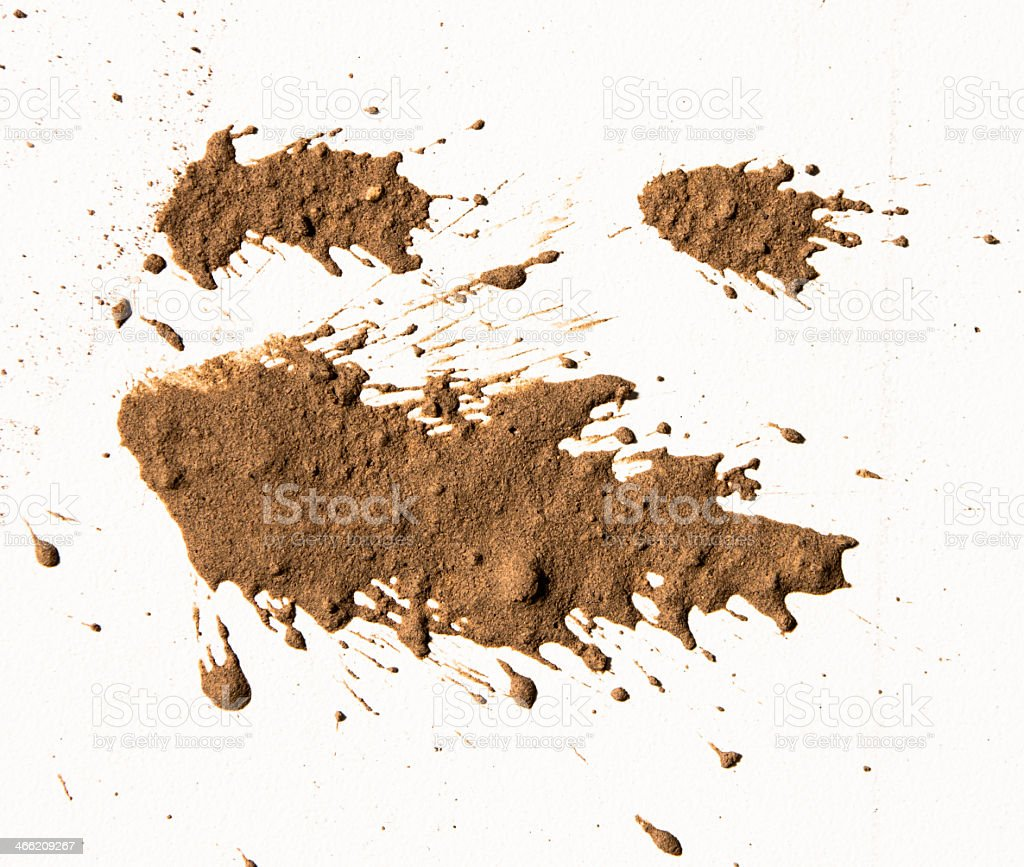 Brown textured clay on a white background stock photo