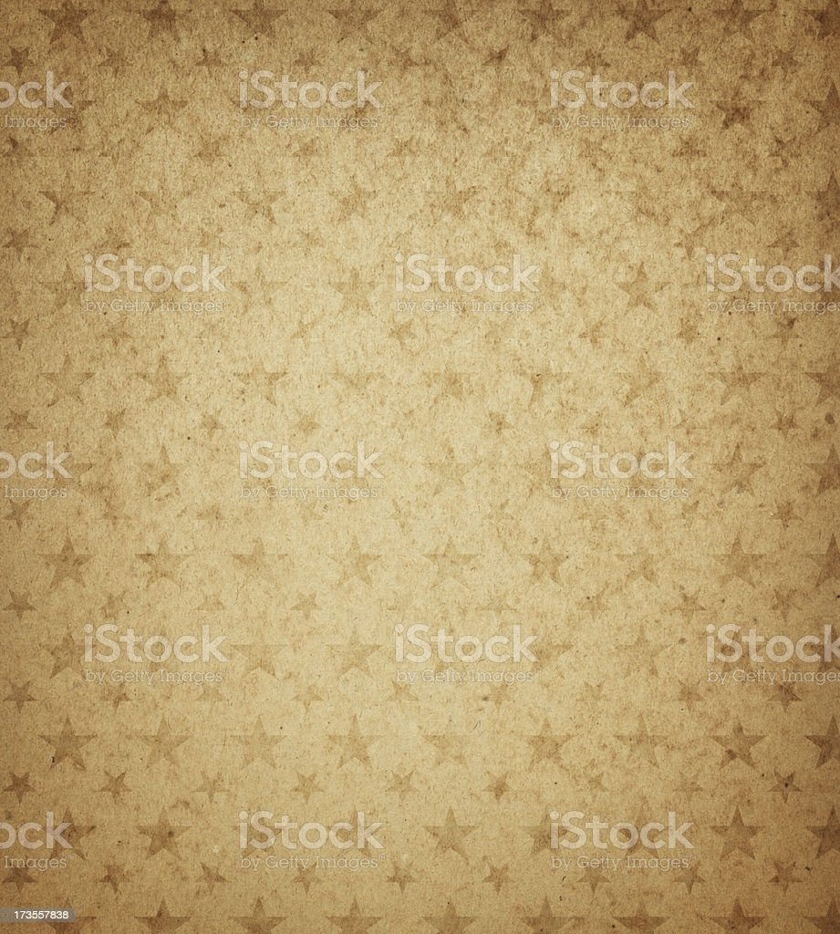 High resolution brown textured paper with stars stock photo
