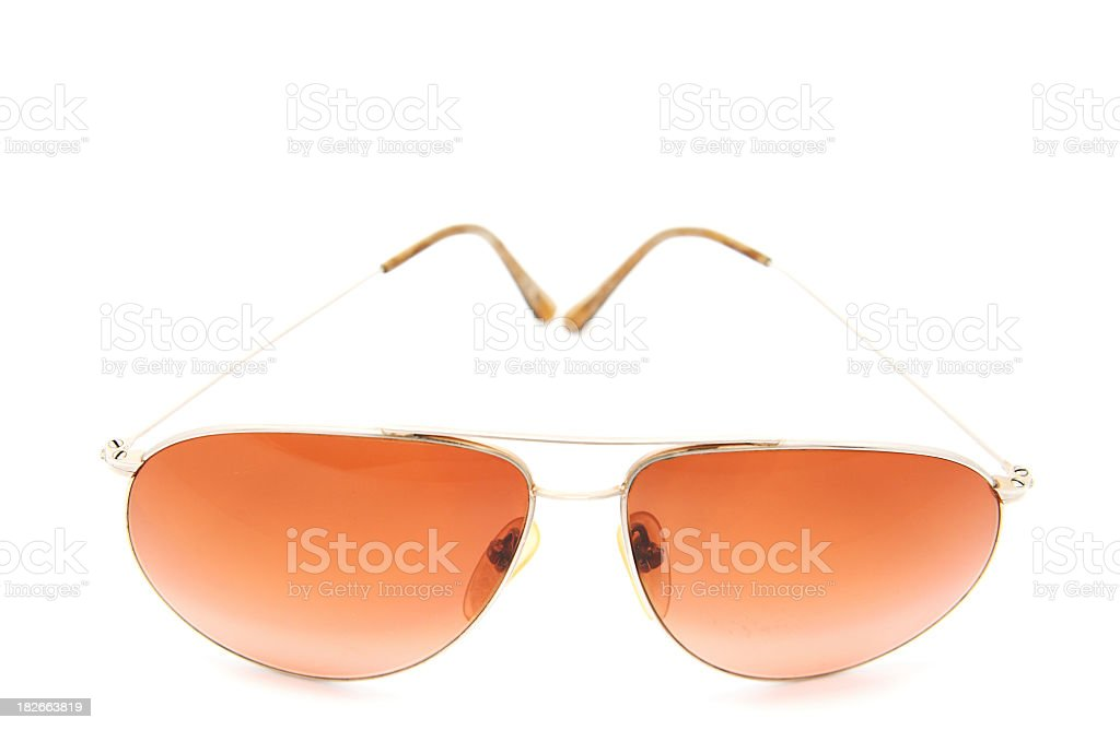 Brown tinted Metal Sunglasses on White Background stock photo