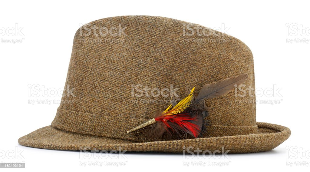 Brown tweed fedora hat with feather accessory royalty-free stock photo