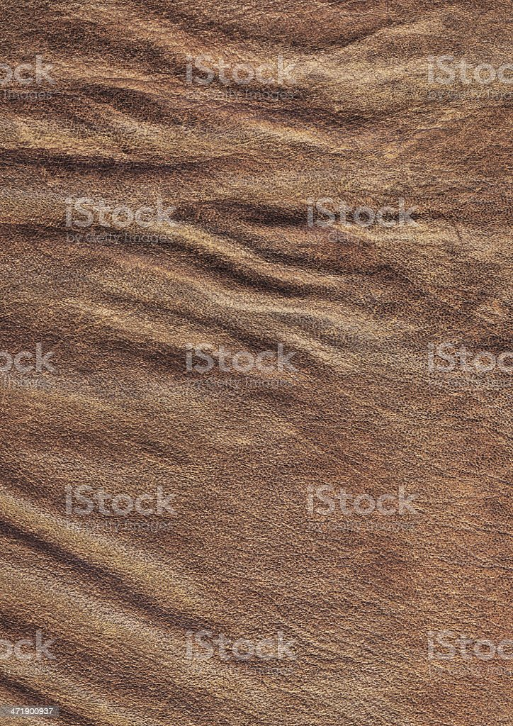 Brown Veal Leather Crumpled Wizened Grunge Texture Sample royalty-free stock photo