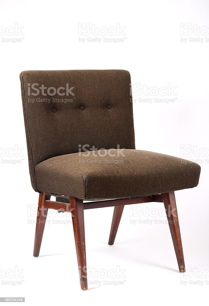 Brown vintage chair on white background stock photo