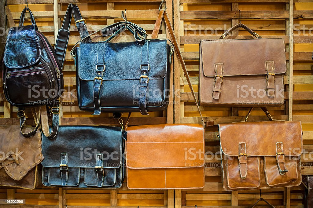 Brown Vintage leather bags stock photo