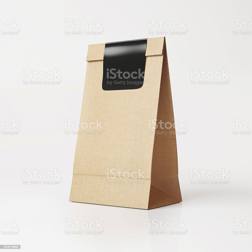 Brown vintage  paper bag with black sticker stock photo