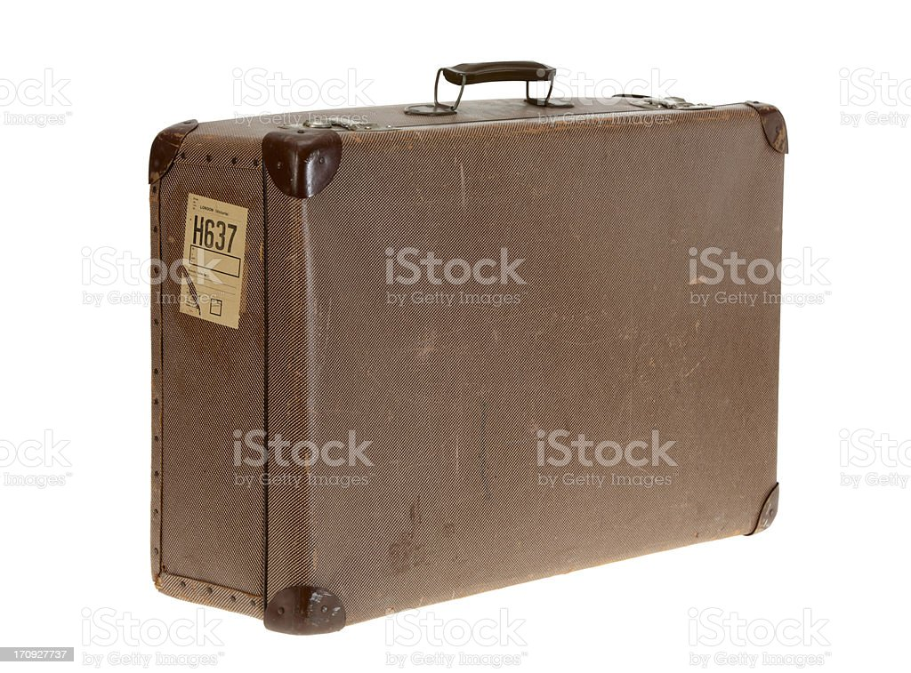 Brown vintage suitcase on white background royalty-free stock photo