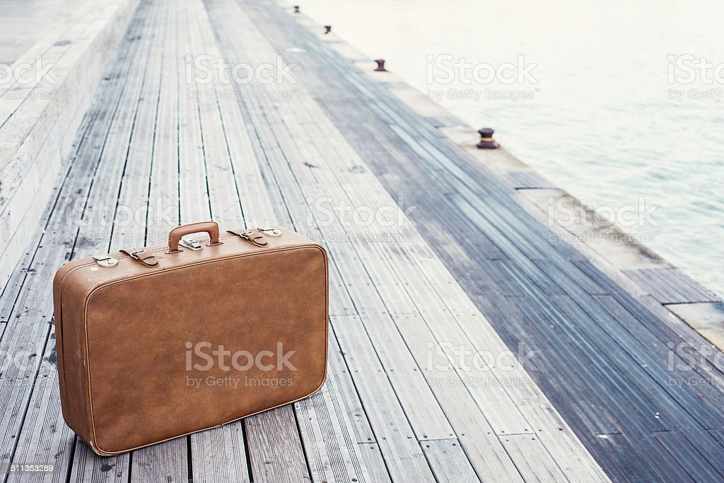 brown vintage suitcase stock photo