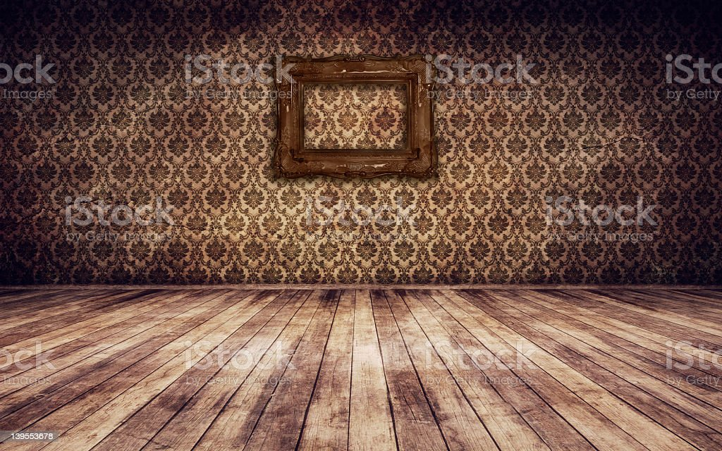 Brown vintage wallpaper and wooden floorboards royalty-free stock photo