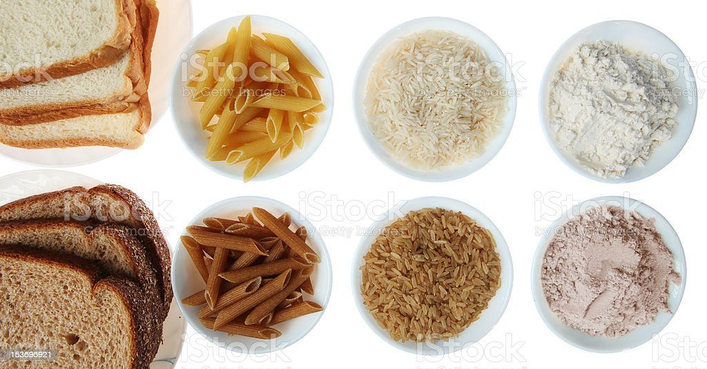 Brown vs. White Flour and Rice Products stock photo