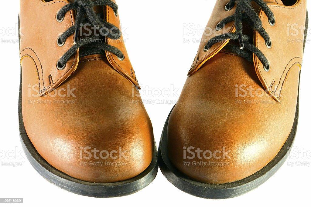 brown walking shoes stock photo