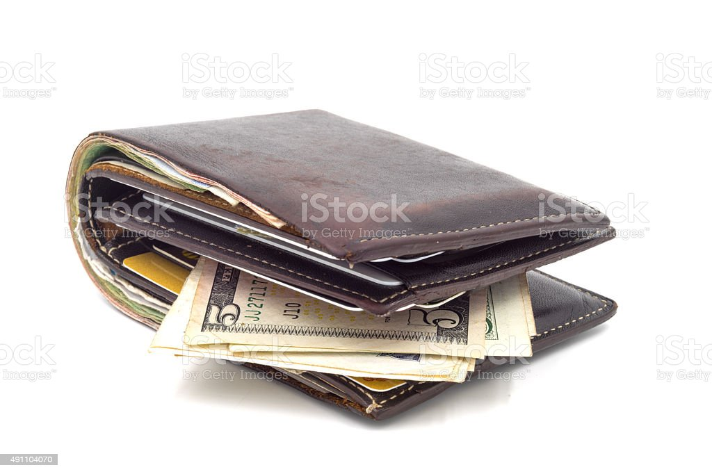 Brown wallet isolated on white background. stock photo