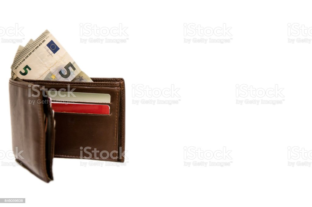 Brown wallet with money and cards stock photo