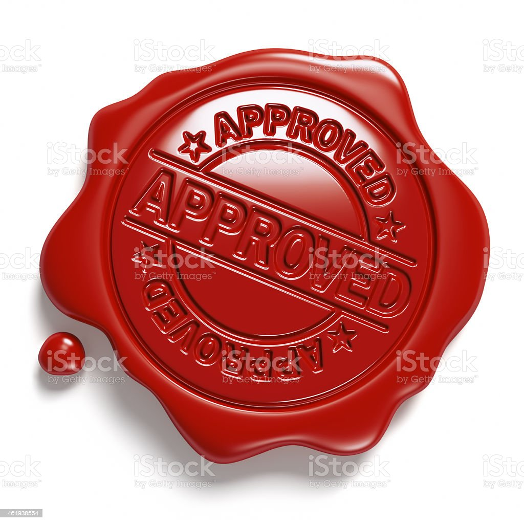 Brown wax seal. «Approved». stock photo