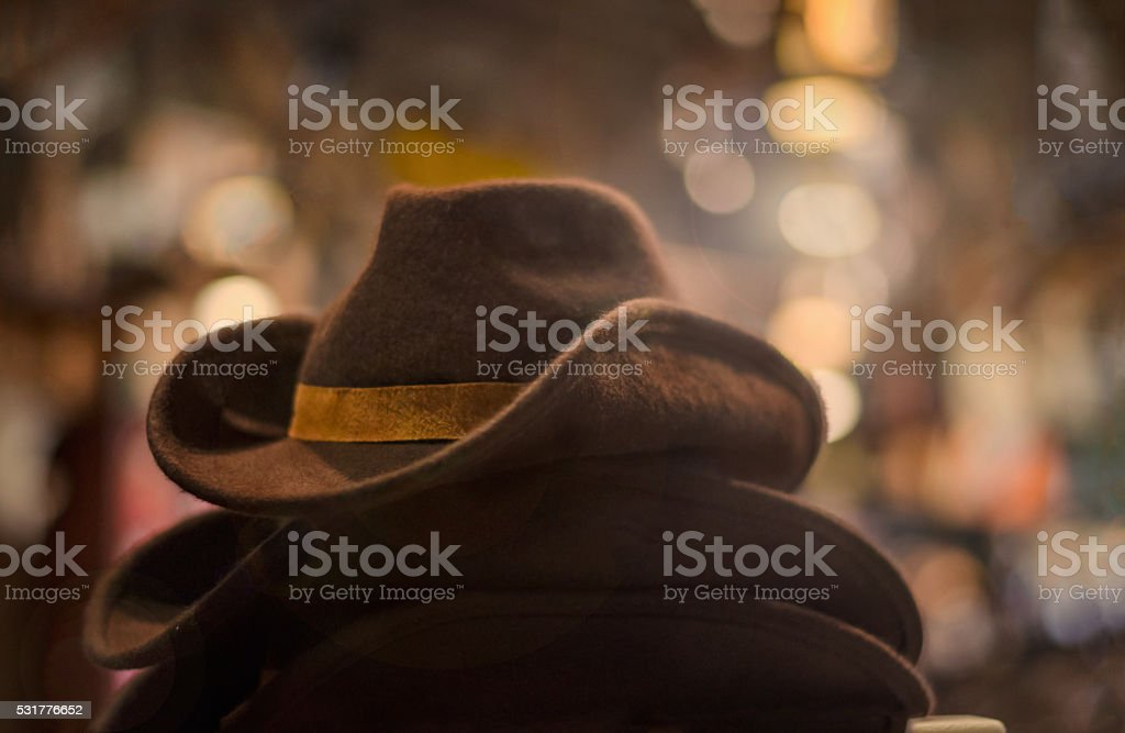 Brown western hats stock photo