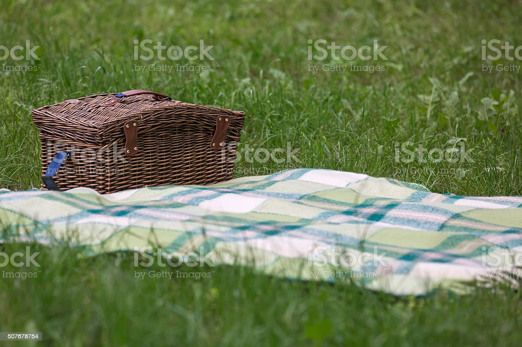 Brown wicker basket stock photo