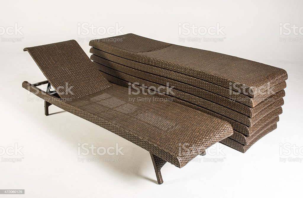 Brown Wicker Patio Furniture Loungechairs Product Shot Against White Background royalty-free stock photo
