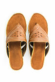 Brown womans shoes.