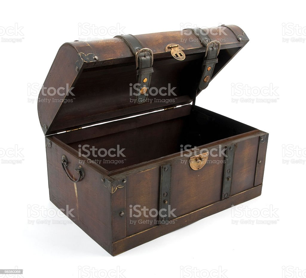A brown wood opened treasure chest royalty-free stock photo