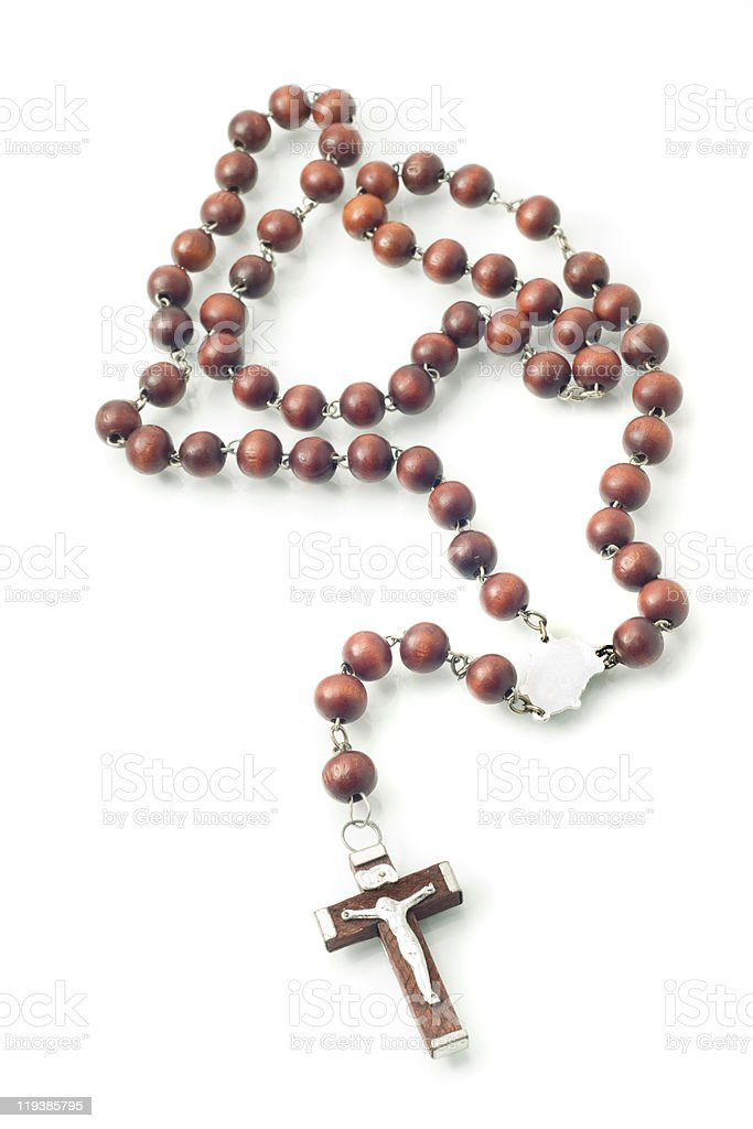 Brown Wooden beads isolated over white stock photo