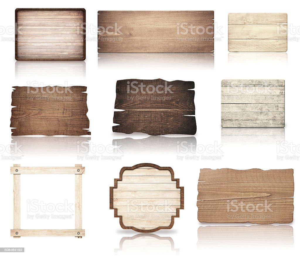 Brown wooden boards, signboard, planks and dark frame are isolated stock photo