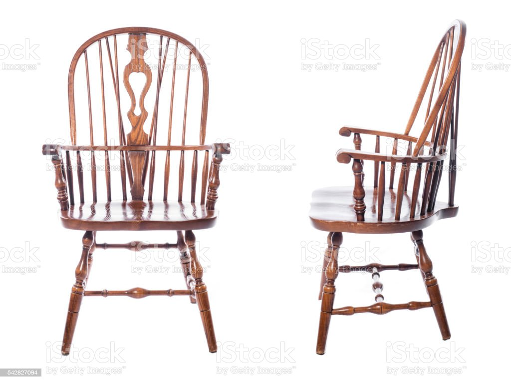 brown wooden chair with handles isolated stock photo