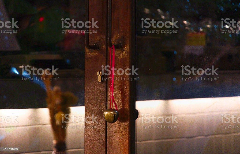 Brown Wooden Door Frame at Night stock photo
