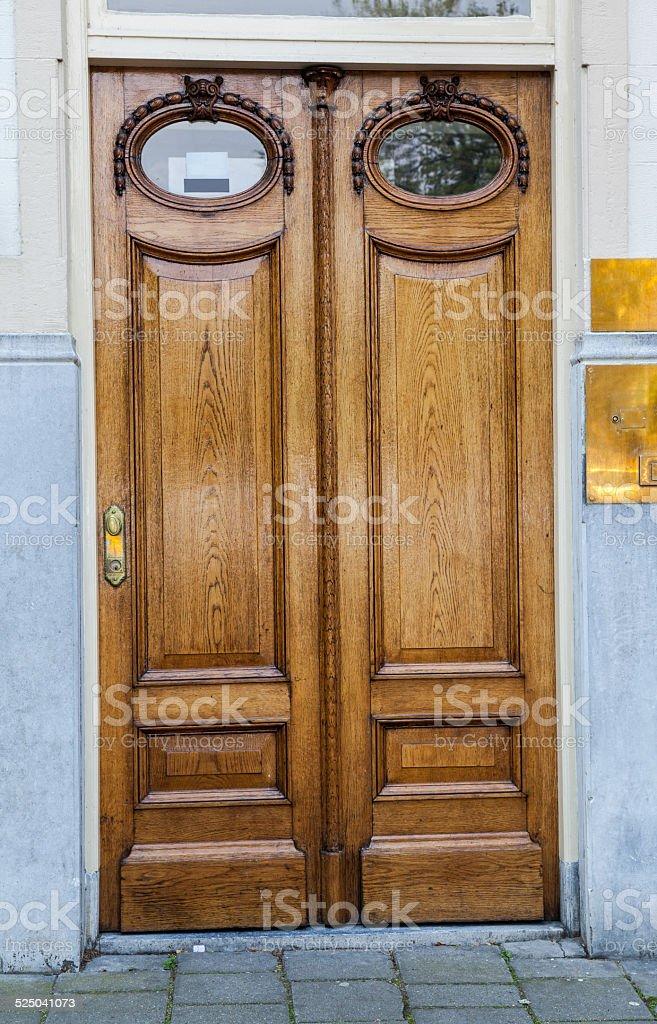 Brown, wooden door stock photo
