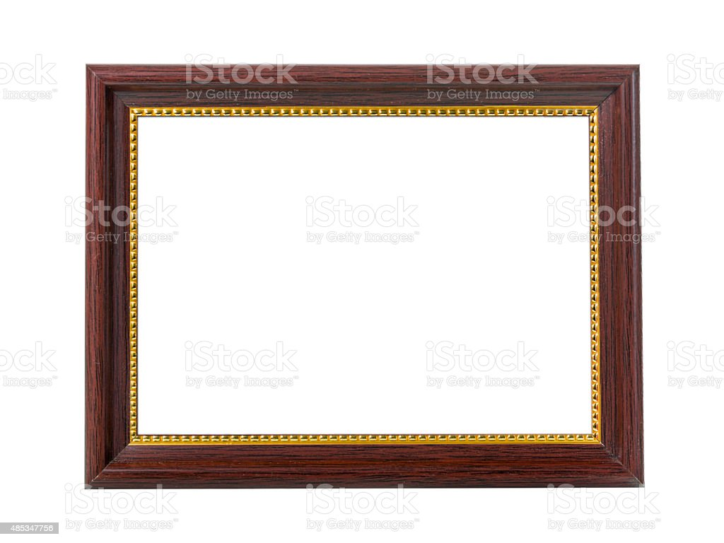 Brown wooden frame for painting or picture isolated stock photo