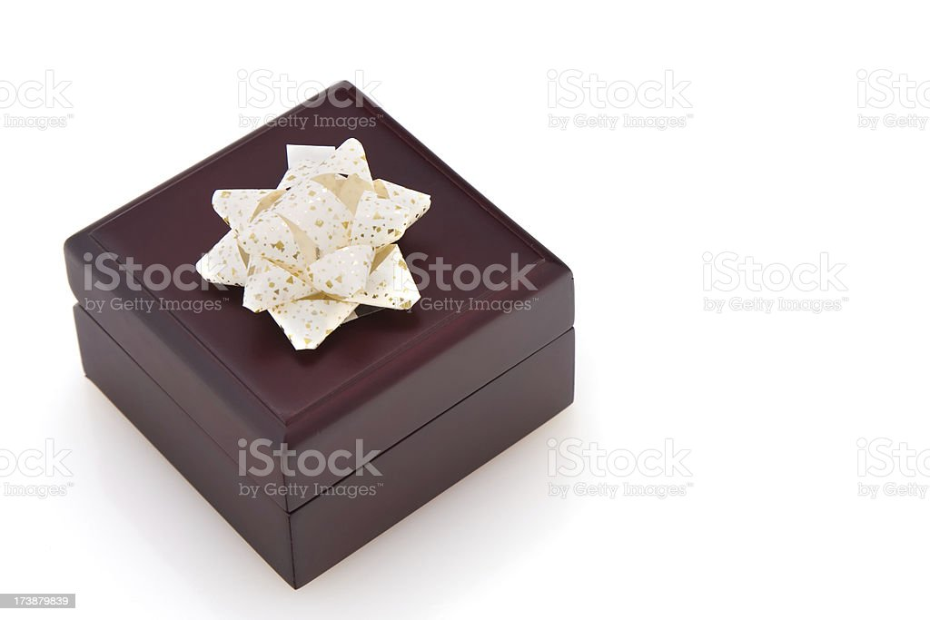 Brown Wooden Gift Box With Beige Color Bow royalty-free stock photo
