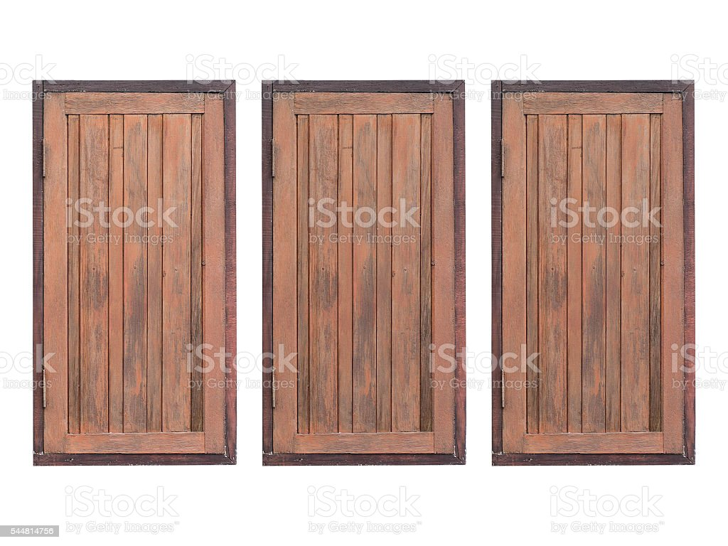 Brown wooden windows on white background foto de stock libre de derechos