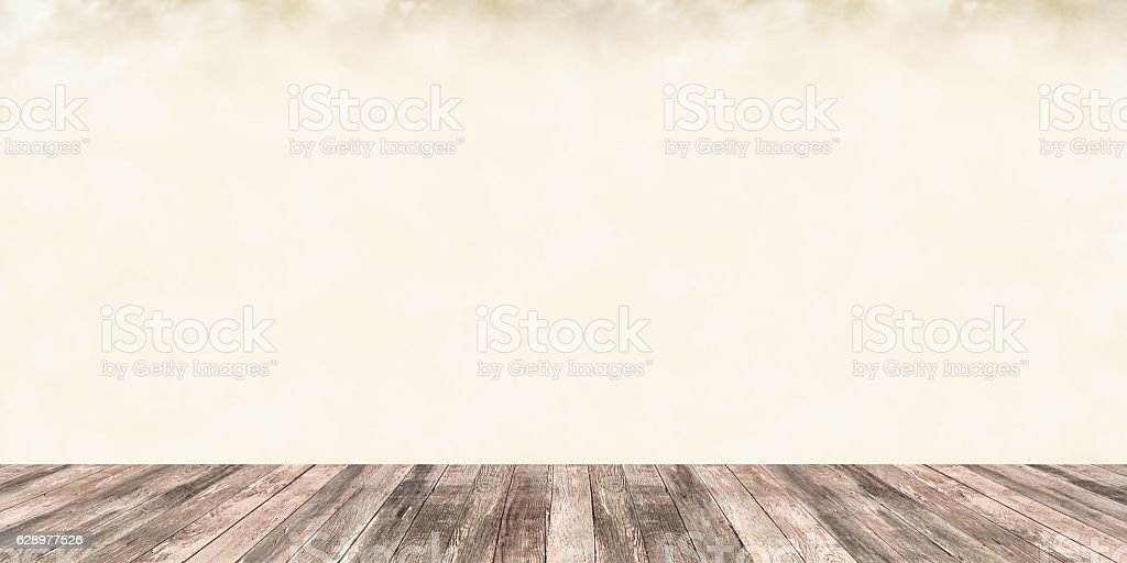 Brown Woodgrain Boards Beige Wall Abstract Architecture Background stock photo