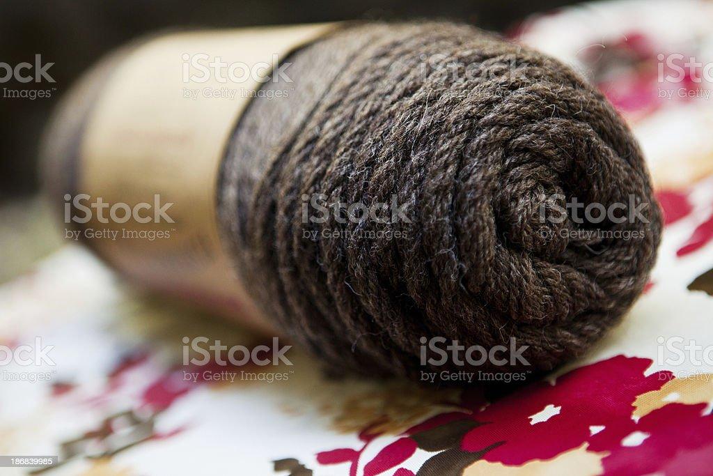 Brown wool yarn stock photo