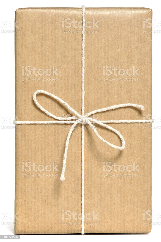 Brown wrapped parcel stock photo