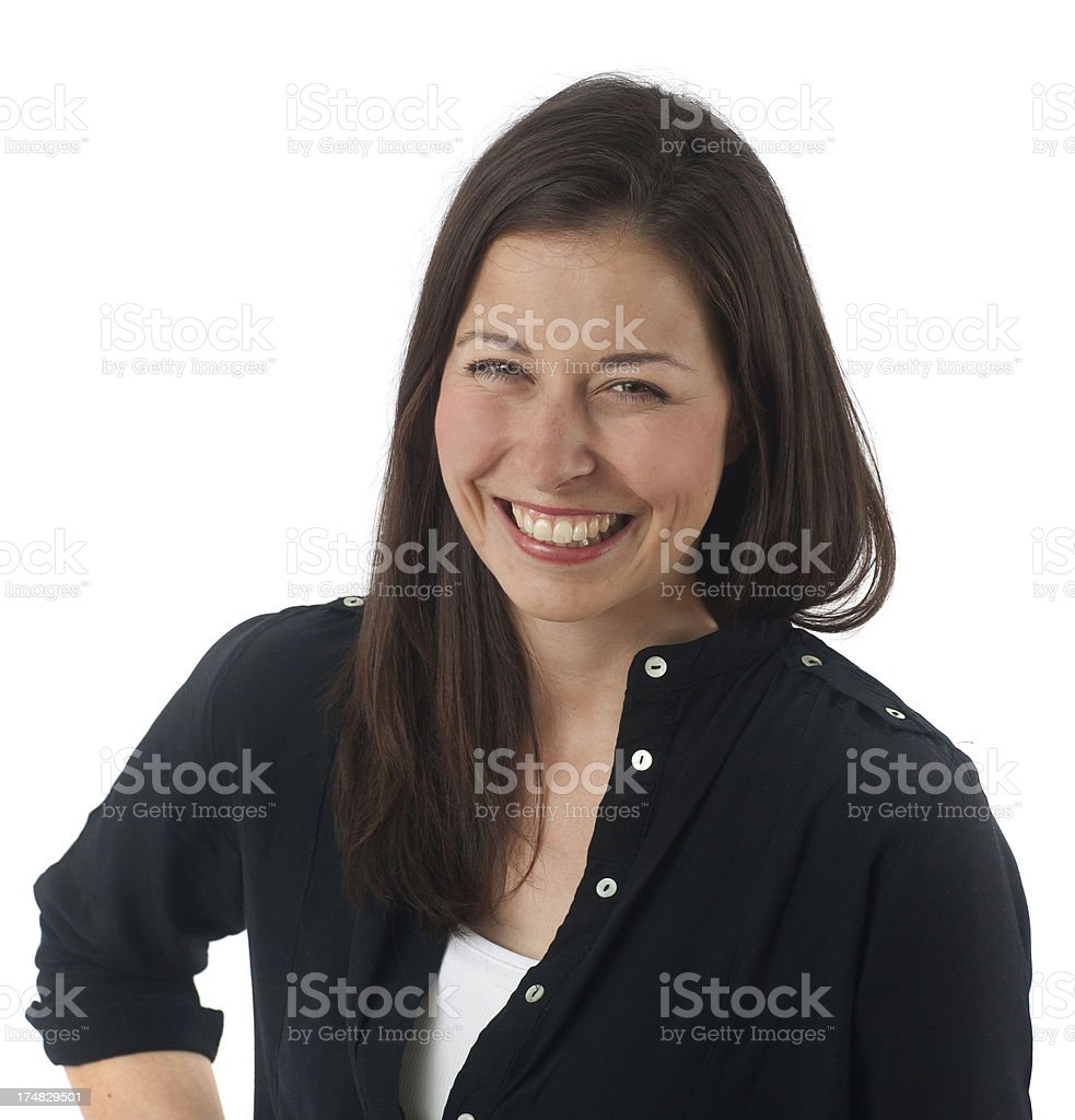 brownhaired girl is smiling innocent and honestly stock photo