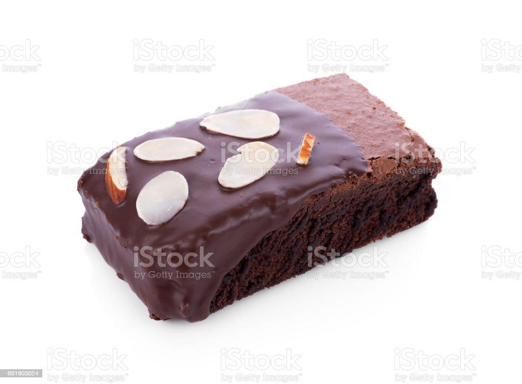 Brownie almonds on white background stock photo