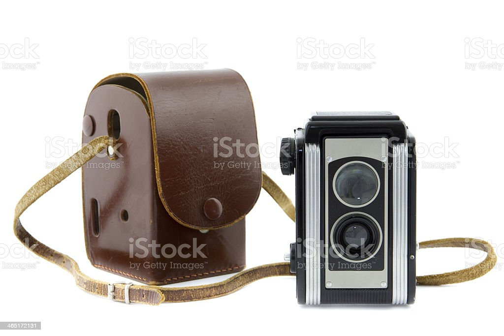 brownie camera with bag isolated stock photo