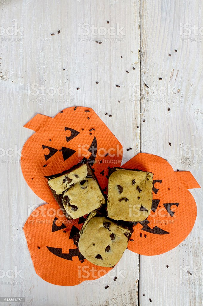 Brownie Cookies on Jack O Lantern Napkins stock photo