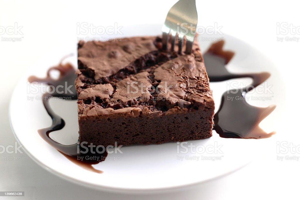 Brownie with chocolate fudge royalty-free stock photo