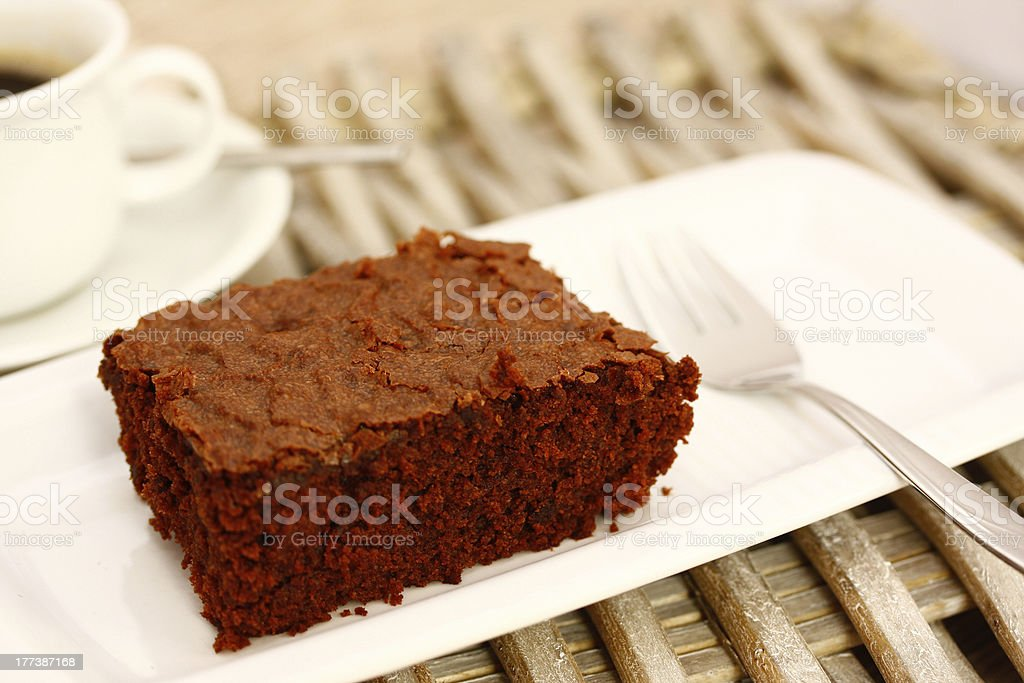 Brownie with coffee royalty-free stock photo