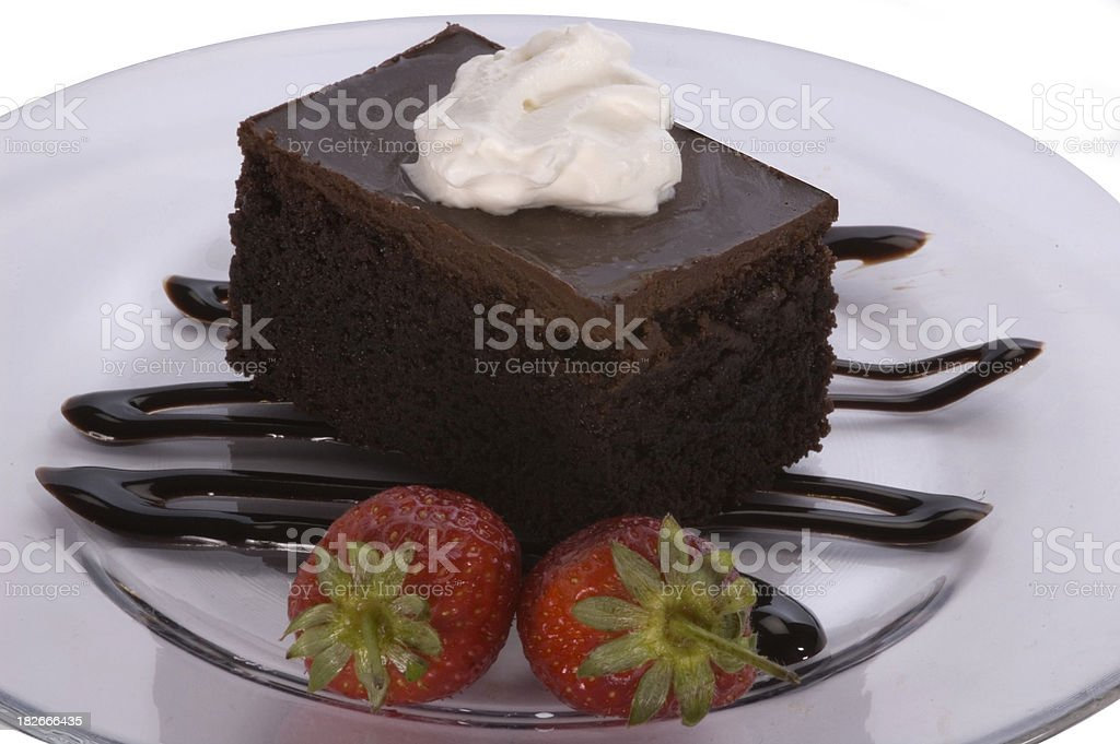 brownie with cream 2 stock photo