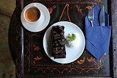 brownie with ice cream and coffee