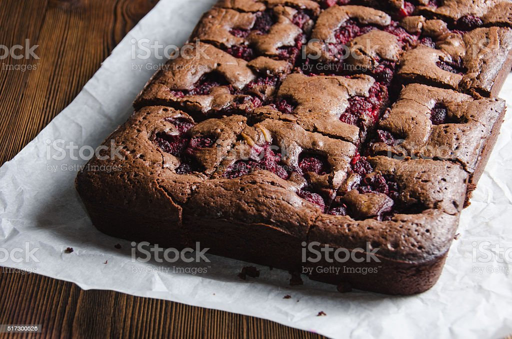 Brownie with raspberry stock photo