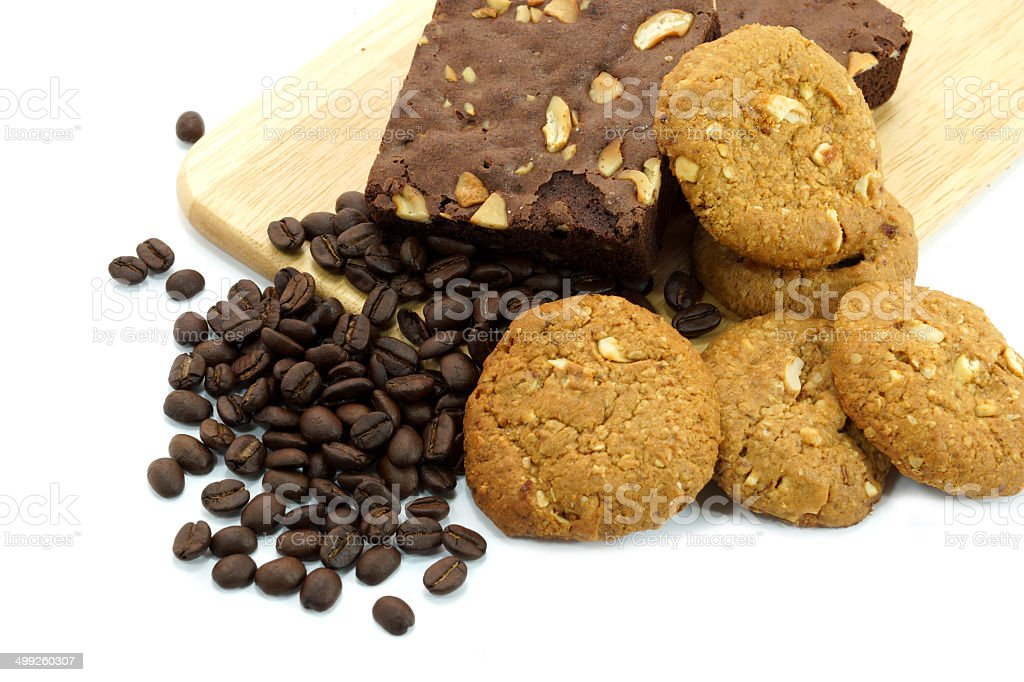 Brownies and cookies With coffee beans royalty-free stock photo