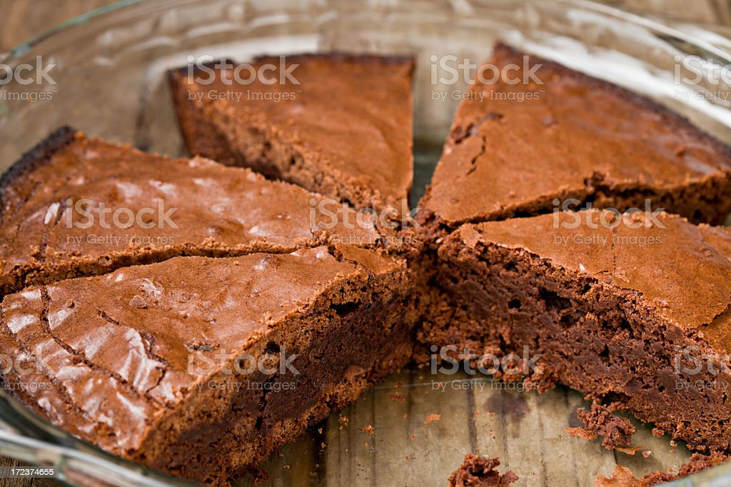 Brownies In A Glass Baking Pan royalty-free stock photo